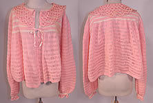 Vintage Hand Fashioned Ann Best Pink & White Knit Crochet Sweater Bed Jacket Top