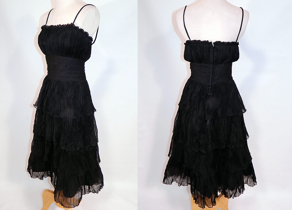 Vintage Suzy Perette NY Label Black Silk Pleated Ruffle Spaghetti Strap Cocktail Dress