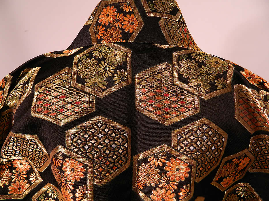 Vintage Japanese Kimono Obi Black Silk Gold Lamé Lame Reversible Jacket