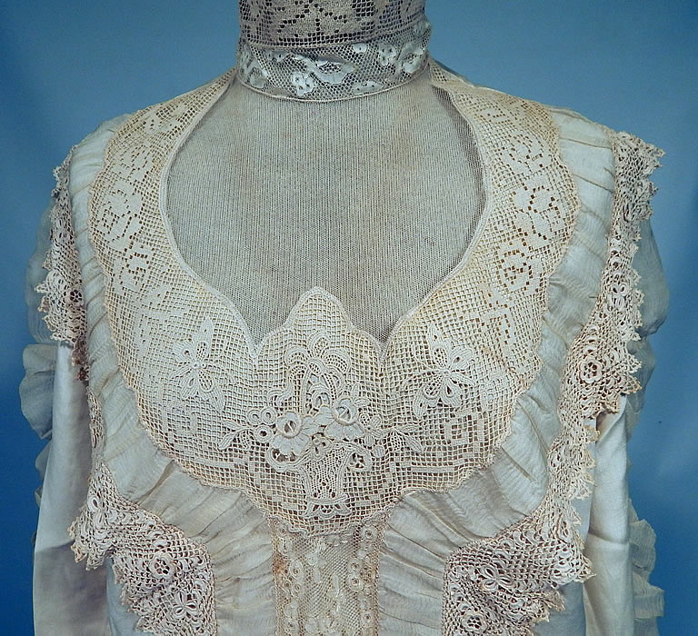Vintage Victorian Style Ecru Cream Cotton Irish Crochet Filet Lace Applique Trim Blouse