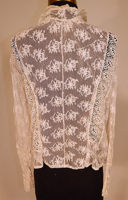 Vintage Edwardian Ecru Cream Tambour Embroidery Net Mixed Lace Blouse Jacket