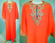 1960s Vintage Perfect Lord & Taylor Label Orange Gold Trim Kaftan Boho Maxi Dress