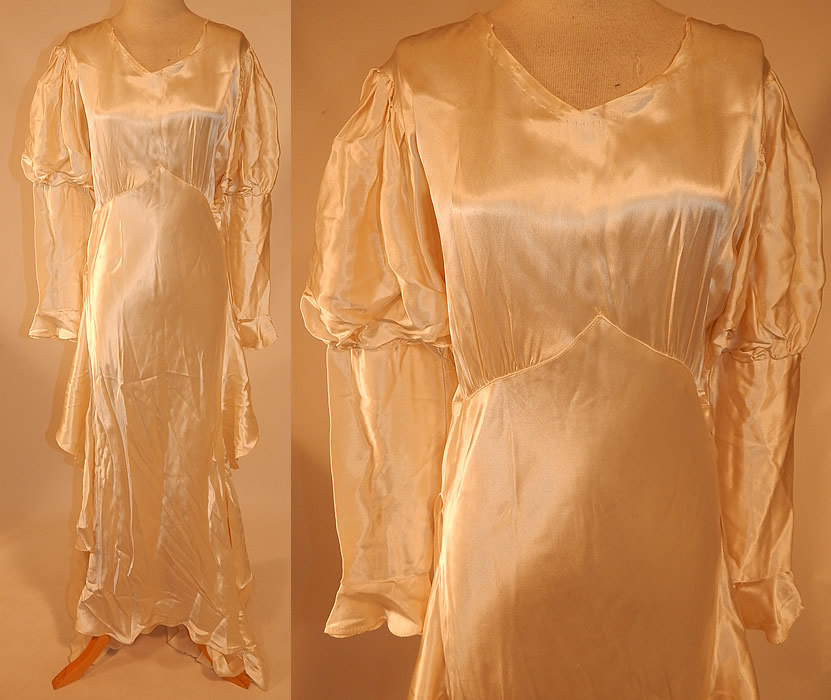 Vintage White Silk Satin Bias Cut Wedding Gown Dress Long Train Skirt