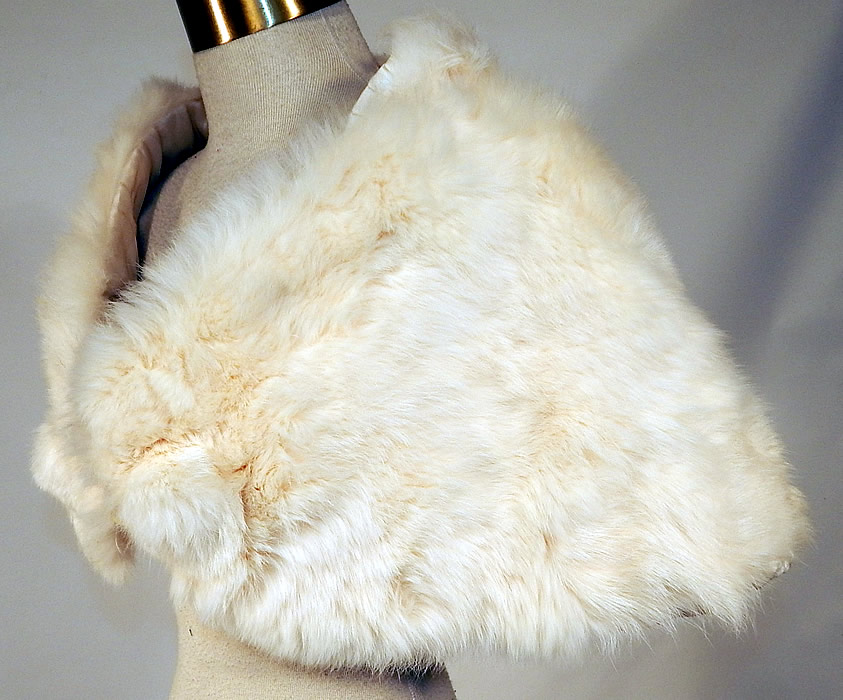 Vintage White Rabbit Fur Shrug Stole Shawl Winter Wrap Glam Evening Cape