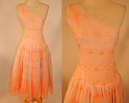 1950s Vintage Peach Pastel Organdy Eyelet Embroidered One Shoulder Circle Skirt Dress