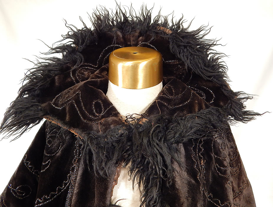 Victorian Black Velvet Jet Beaded Mohair Trim Winter Cloak Cape Mantle