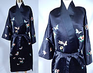 Antique Vintage Chinese Black Silk Pastel Embroidered Butterfly Belted Kimono Robe