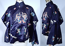 Antique Chinese Blue Silk Forbidden Stitch Embroidered Butterfly Robe Jacket