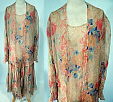 1920s Vintage Art Deco Colorful Abstract Print Silk Chiffon Drop Waist Dress & Jacket