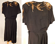 1940s Vintage Eisenberg Originals Black Silk Crepe Gold Flower Beaded Cocktail Dress
