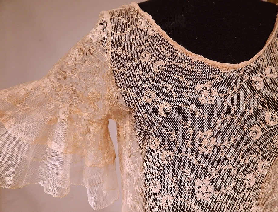 Vintage Ecru Cream Tambour Embroidery Tulle Net Lace Bias Cut Dress Gownside view.