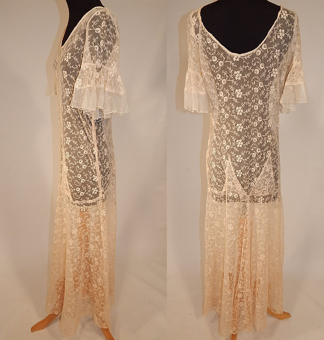 Vintage Ecru Cream Tambour Embroidery Tulle Net Lace Bias Cut Dress Gown back view.