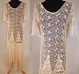 Vintage Ecru Cream Tambour Embroidery Tulle Net Lace Bias Cut Dress Gown.