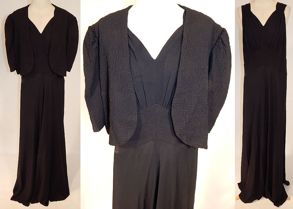 Vintage Black Silk Crepe Gold Quilted Bias Cut Evening Gown Dress & Jacket