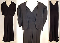 1930s Vintage Black Silk Crepe Gold Quilted Bias Cut Evening Gown Dress & Jacket