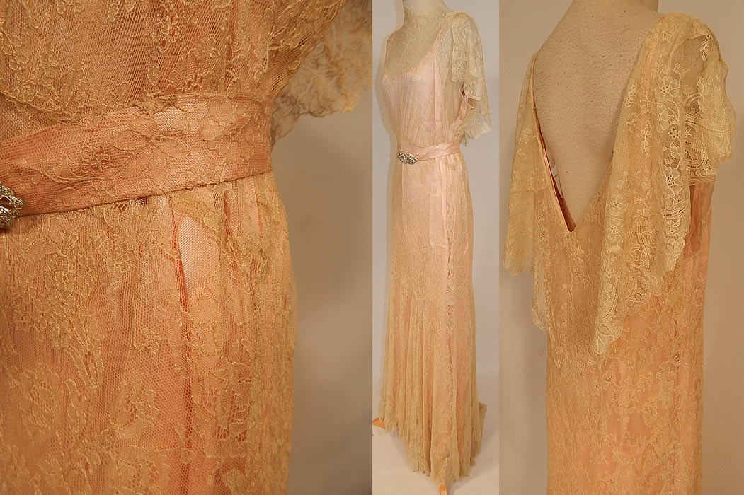 Vintage Cream Chantilly Lace Belted Bias Cut Dress Wedding Gown & Pink Silk Slip