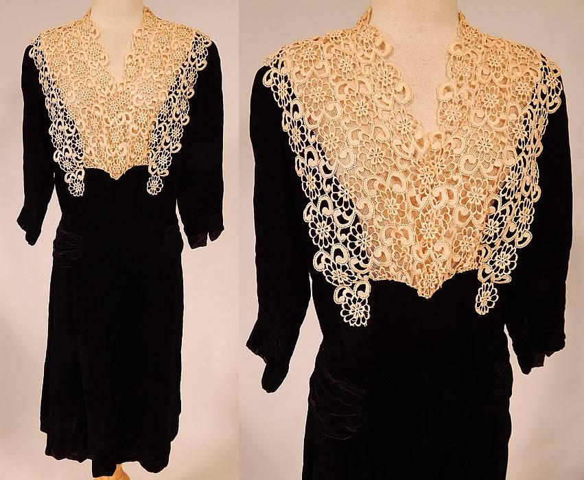 Vintage Black Silk Velvet Cream Lace Yoke Belted Back Cocktail Dress