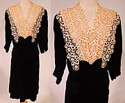1940s Vintage Black Silk Velvet Cream Lace Yoke Belted Back Cocktail Dress
