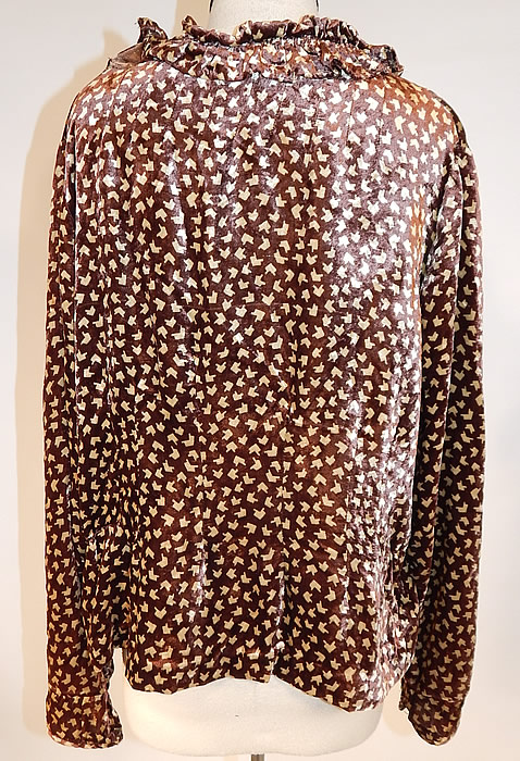 Vintage Art Deco Brown Silk Velvet Print Ruffle Collar Flapper Blouse Shirt Top