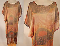 Vintage Art Deco Gold Lamé Lame Abstract Print Silk Fringe Flapper Shawl Dress