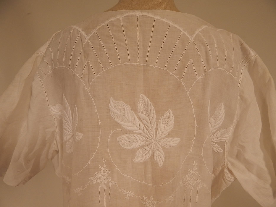 Vintage White Cotton Batiste Embroidered Forget-me-not Floral Leaf Drop Waist Dress