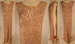 Vintage 1920s Ecru Embroidered Crochet Lace Net Tabard Tunic Flapper Dress