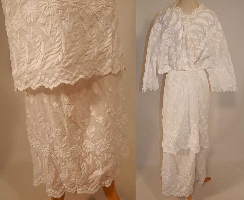 Edwardian Embroidered White Cotton Batiste Lace Dress