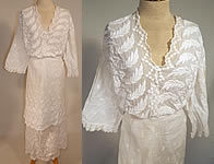Vintage Edwardian Embroidered White Cotton Batiste Lace Dress Blouse & Skirt Fabric