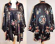 Antique Chinese Vintage Black Silk Embroidered Peony Flower Butterfly Robe & Camisole