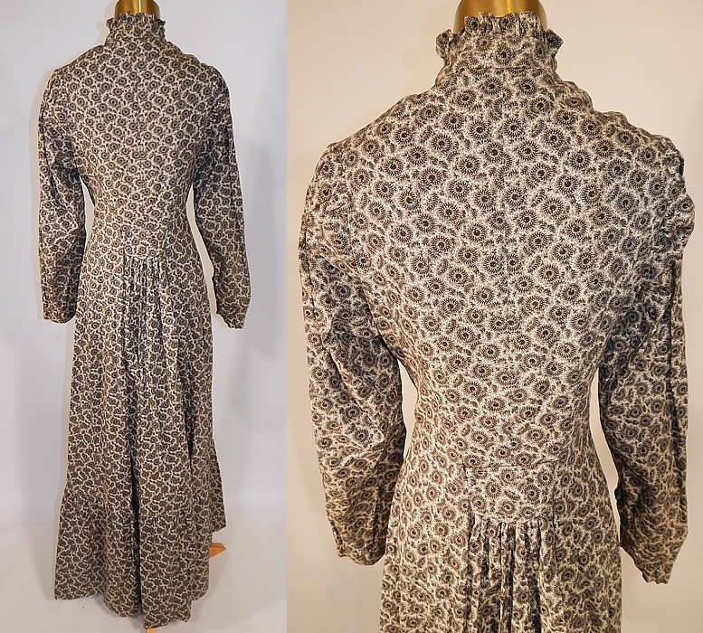 Victorian Black & White Cotton Calico Print Belted Morning Wrapper Workwear Day Dress