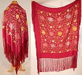 Antique Vintage Red Rose Silk Pastel Floral Embroidered Flapper Boho Piano Shawl
