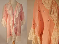 Vintage Pink Cotton Embroidered Daisies Lace Trim Flapper Peignoir Robe Bed Jacket