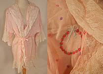 Vintage Pink Cotton Embroidered Rosette Lace Trim Flapper Peignoir Robe Bed Jacket