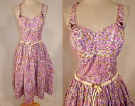 Vintage Catalina Sportswear Pink Cotton Novelty Print Belted Circle Skirt Dress