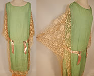 1920s Vintage Mint Green Silk Tambour Lace Rosette Ribbon Batwing Drop Waist Dress
