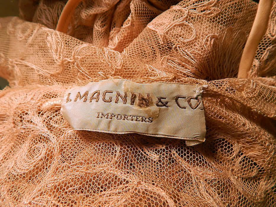 Vintage I. Magnin & Co Pink Tambour Embroidery Net Lace Peignoir Robe Dressing Gown