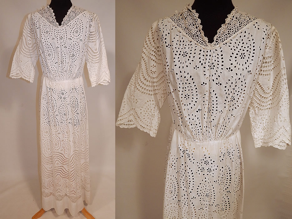 Victorian white cotton batiste broderie anglaise eyelet
