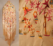 Antique Cream Silk Pastel Embroidered Figural Floral Chinese Canton Piano Shawl