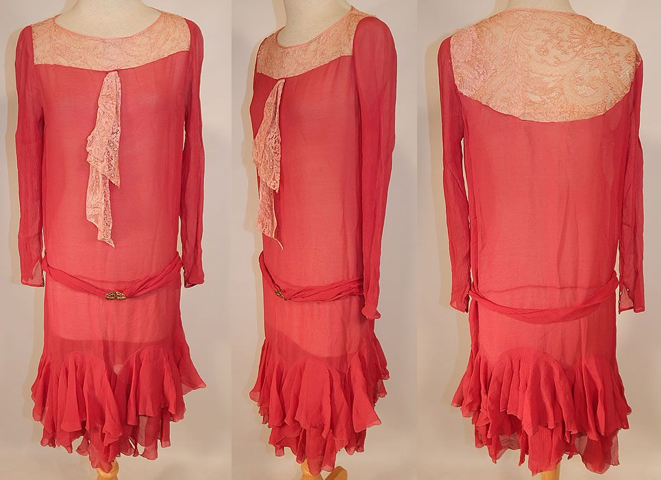 Vintage Red Raspberry Silk Chiffon Lace Yoke Belted Drop Waist Dress Ruffle Skirt