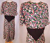 Vintage Green Pink Purple Coil Springs Abstract Novelty Print Rayon Peplum Dress