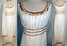 1960s Vintage John Norman Lord & Taylor White Chiffon Grecian Goddess Gown Shawl