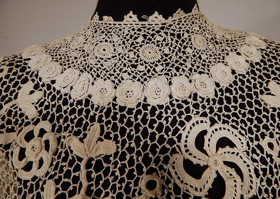 Edwardian White Irish Crochet Lace Meshwork Shirt Blouse Jacket Top