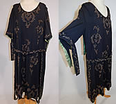 Vintage Art Deco Black Wool Tan Chenille Embroidered Beaded Belted Flapper Dress