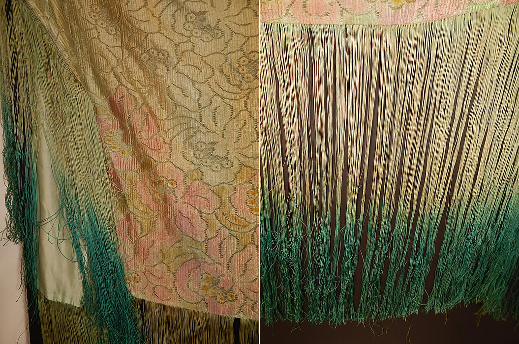 Vintage Pastel Green Silk Pink Floral Lace Ombre Fringe Flapper Shawl Cloak Cape