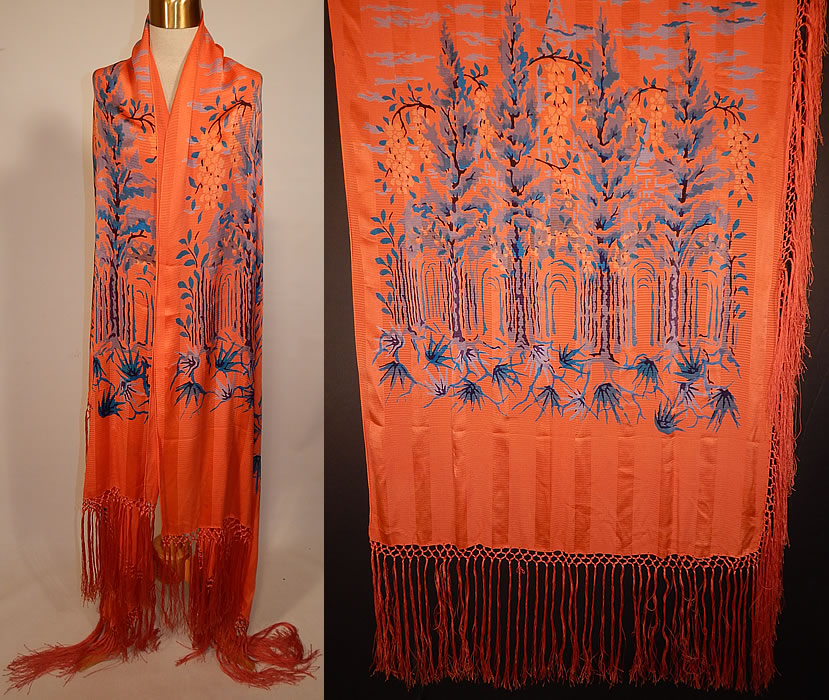 Vintage Orange Stripe Art Deco Silk Screen Teal Blue Flora Fringe Flapper Shawl Scarf