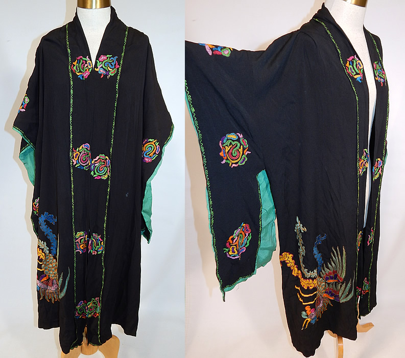 Vintage Art Deco Black Silk Colorful Metallic Embroidered Pheasant Kimono Robe Coat