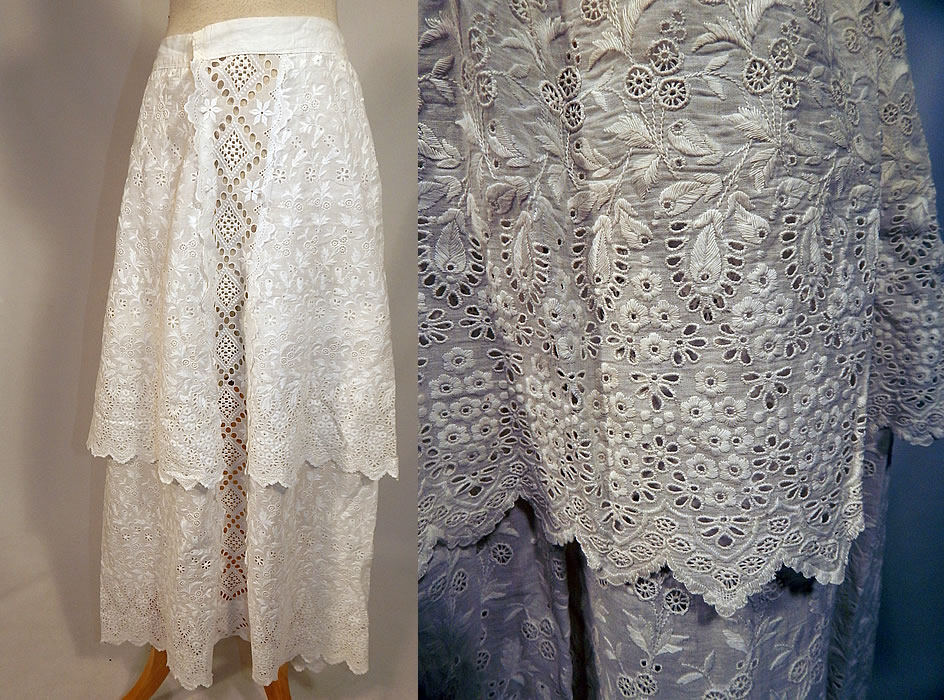 Edwardian white cotton broderie anglaise eyelet embroidery