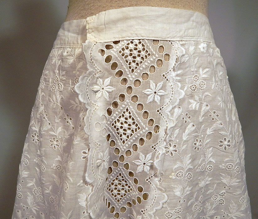 Edwardian White Cotton Broderie Anglaise Eyelet Embroidery