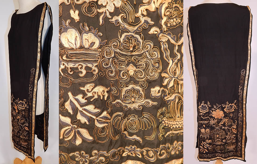 Antique Chinese Silk Forbidden Stitch Gold Couching Embroidery Tunic Tabard Dress