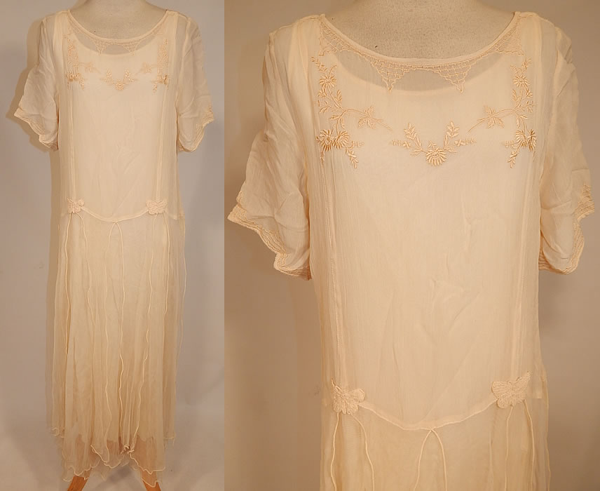 Vintage April Cornell Cream Embroidered Floral Butterfly 1920s Style ...